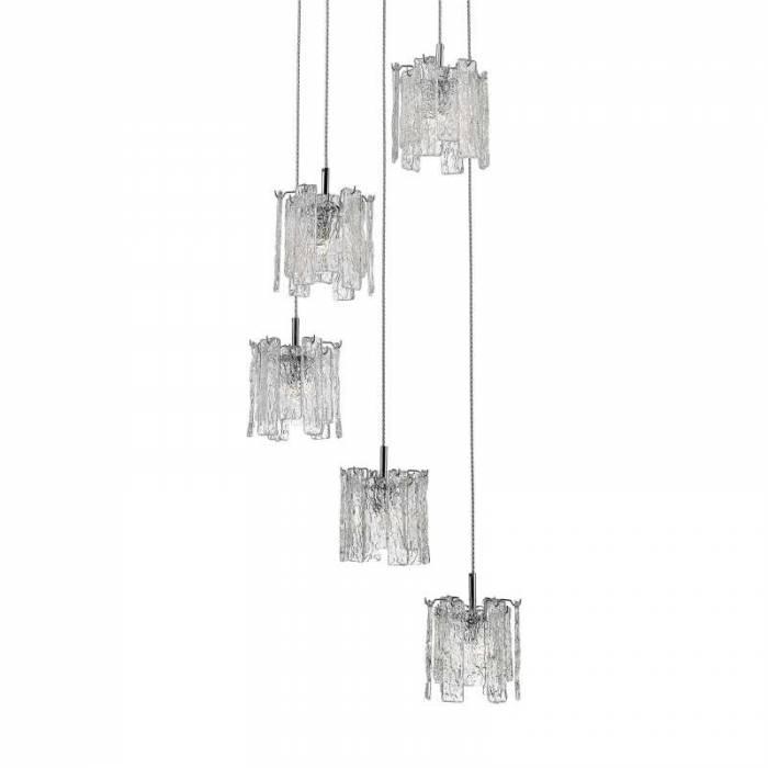Lustră pendul cu înălțime reglabilă Jaymie, sticla/ metal, transparent/ argintiu/ crom