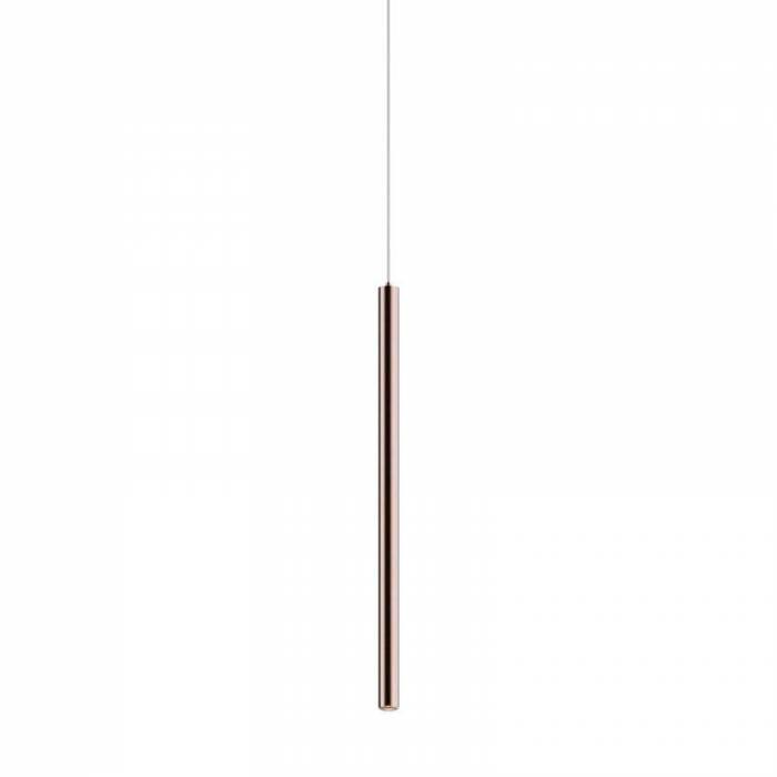 Lustră pendul cu led Renato, 64-140x8x8 cm, metal, cupru