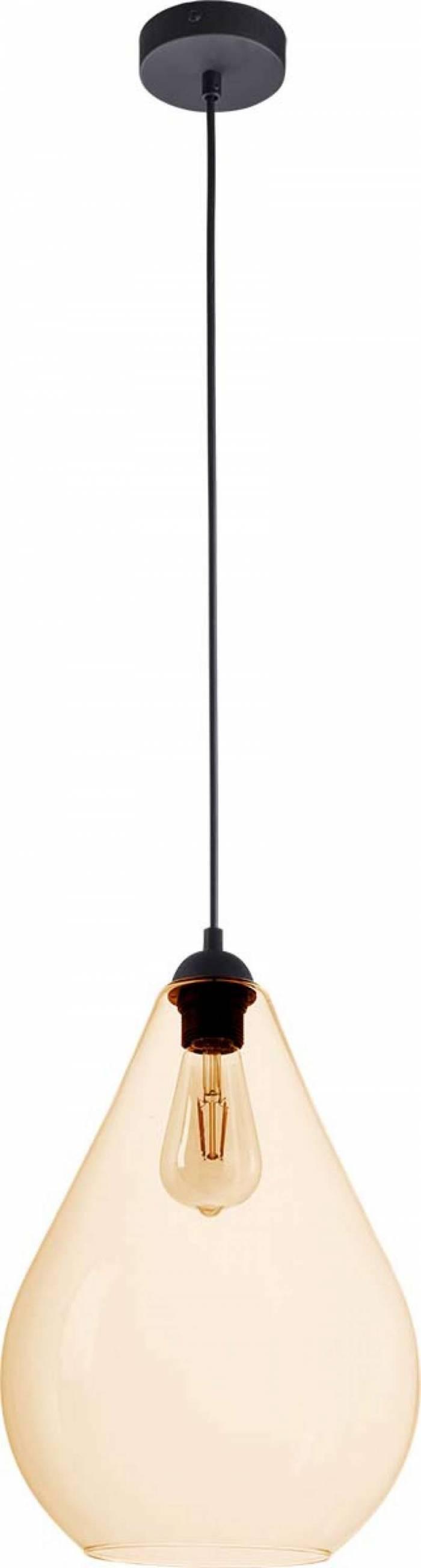 Lustră pendul Violette, 130x24x24 cm, metal/ sticla/ plastic, chihlimbar/ negru