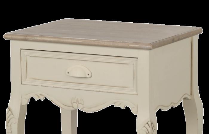 Noptieră cu sertar Adelaida, 70x47x36 cm, lemn de plop/ mdf/ metal, crem/ maro deschis