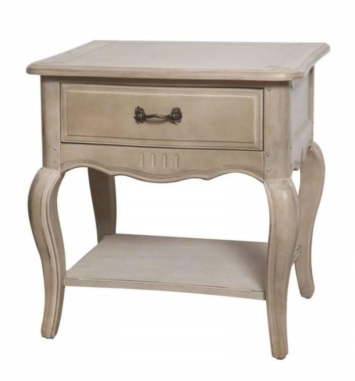Noptieră cu sertar și raft Dominica, 60x60x45 cm, lemn de mesteacan/ metal, bej
