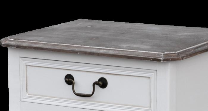Noptieră cu trei sertare Berenice, 63x48x38 cm, lemn de plop/ mdf/ metal, alb/ maro