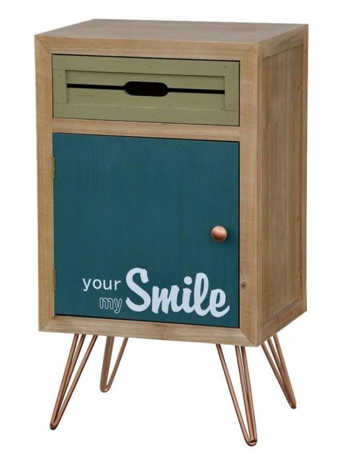 Noptieră stil exotic Amiee cu sertar și ușă, 70x40x30 cm, lemn de brad/ metal, maro deschis/ verde/ albastru