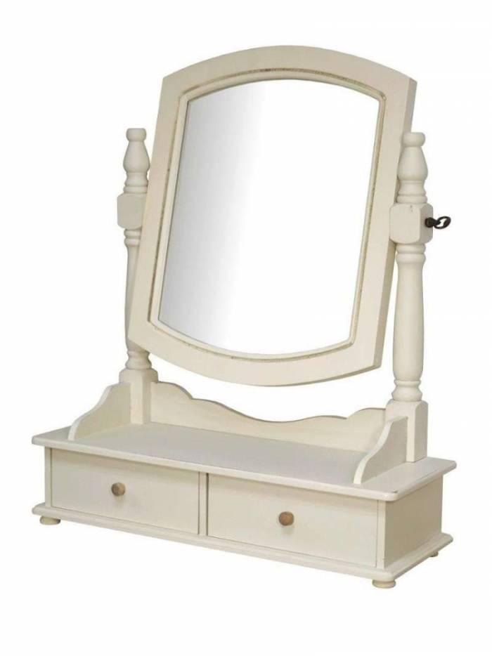 Oglindă de masă Adelaida, 56x49x18 cm, lemn de plop/ mdf/ metal, crem/ maro deschis