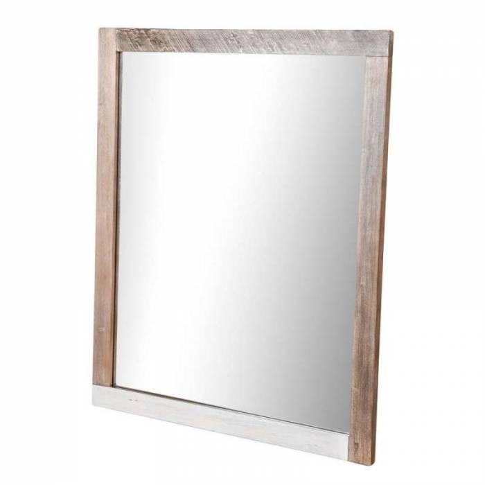 Oglindă de perete Beth, 100x120x3 cm, lemn de acacia/ mdf/ metal, gri/ negru