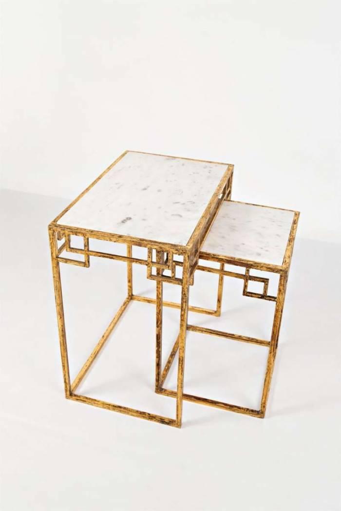 Set două măsuțe de cafea Karan, 61/56x58/35x38/35 cm, marmura/ metal, auriu