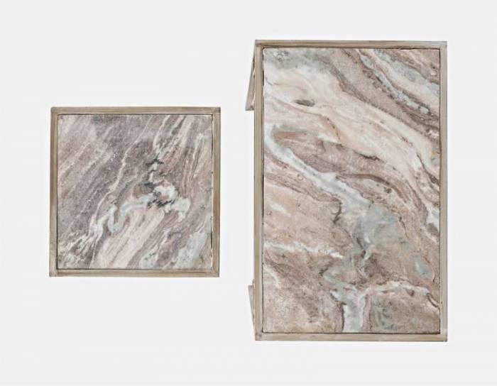 Set măsuțe de cafea Karan, 61/56x58/35x38/35 cm, marmura/ metal, argintiu