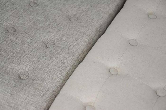Taburet tapițat Francis , 48x62x41 cm, lemn de plop/ material textil, maro/ bej