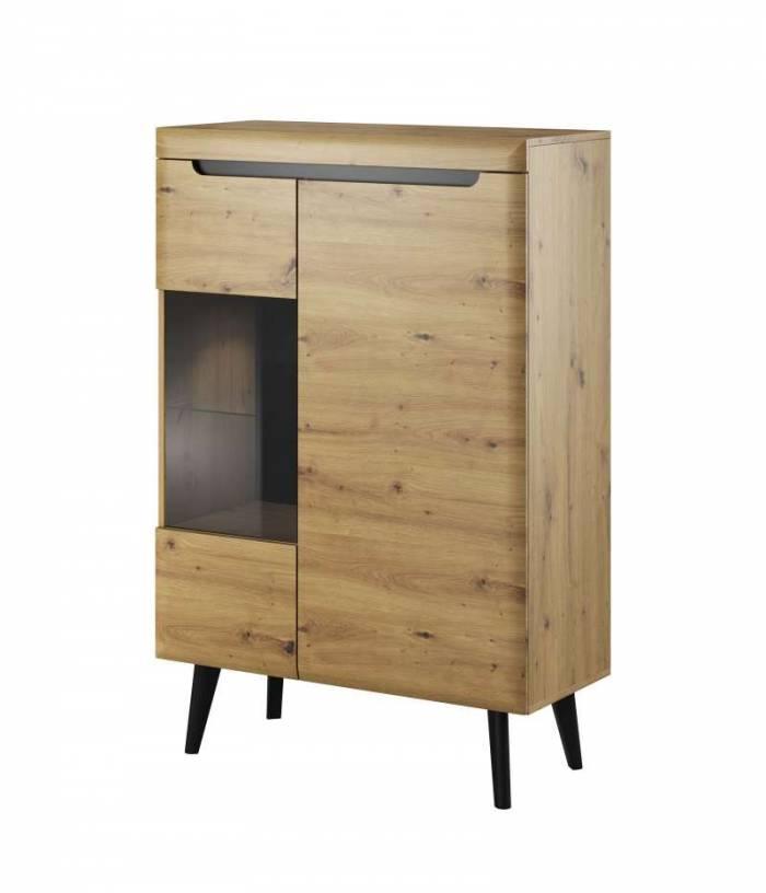 Vitrină Alix, 134x90x40 cm, pal/ mdf/ sticla/ lemn, maro/ negru