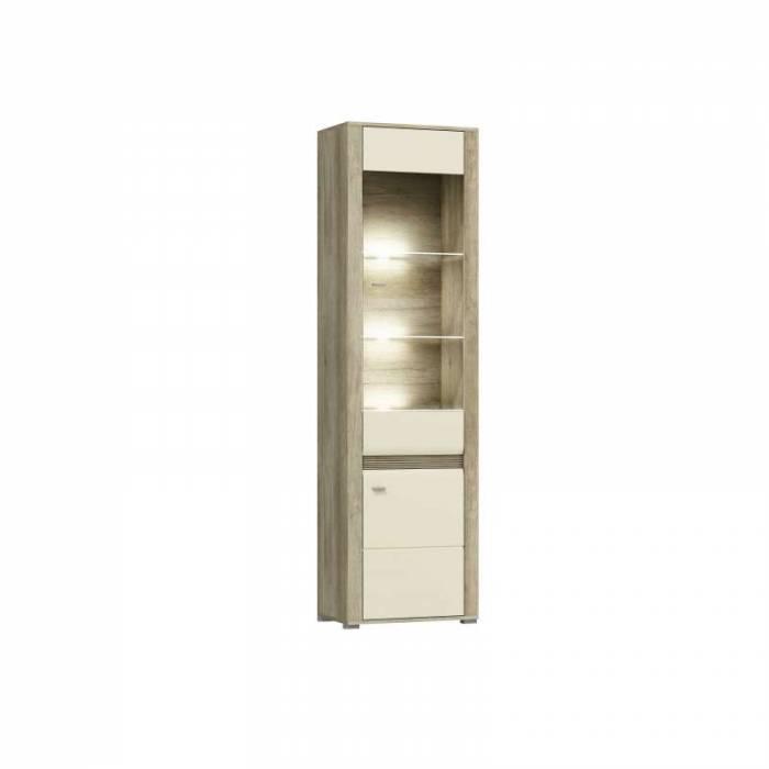 Vitrină înaltă cu ușă Freda, 205x60x37 cm, pal/ mdf/ plastic/ aluminiu/ sticla, gri