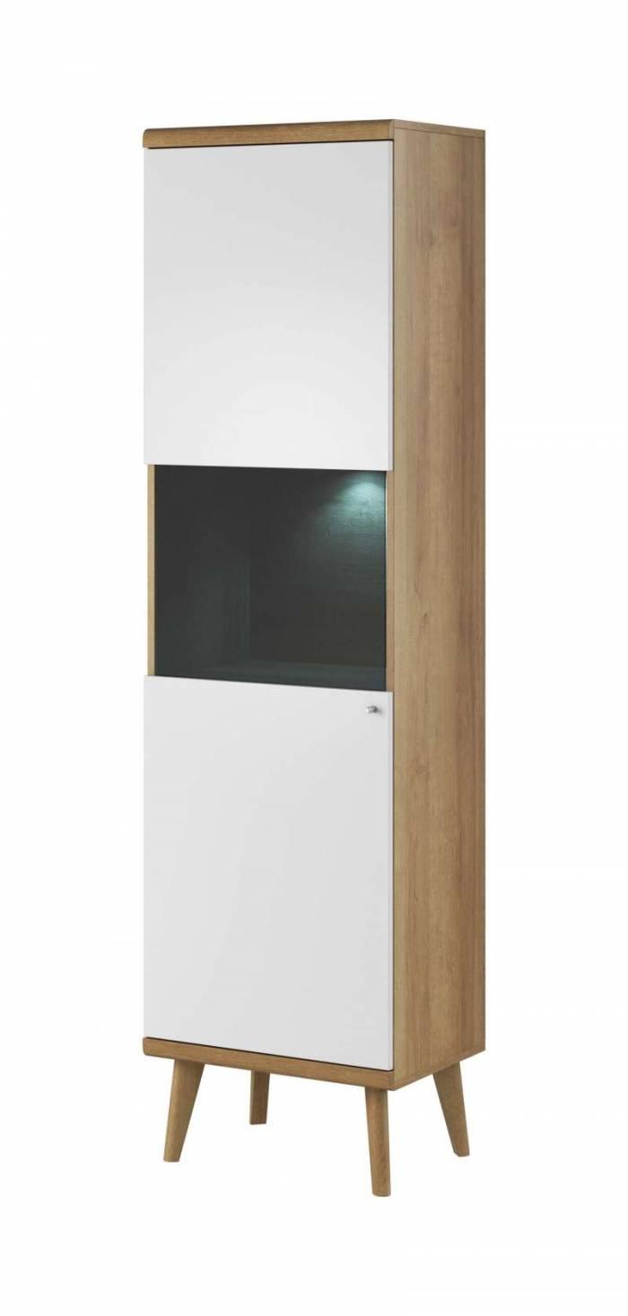 Vitrină înaltă cu uși Andera, 197x50x40 cm, pal/ mdf/ sticla/ lemn de stejar/ aluminiu, maro/ alb