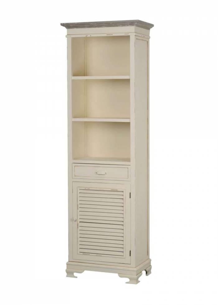 Vitrină living cu ușă și sertar Cleopatra, 180x57x36 cm, lemn de plop/ mdf/ metal, crem/ maro deschis