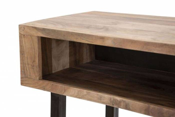 Consolă cu sertar Mumbai, 76x118x40 cm, lemn de acacia/ metal, maro/ negru
