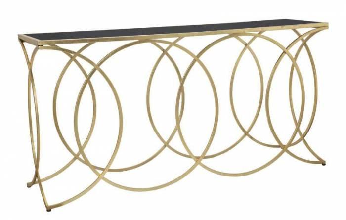 Consolă Infinity, 79x160x40 cm, metal/ mdf/ sticla, auriu/ negru