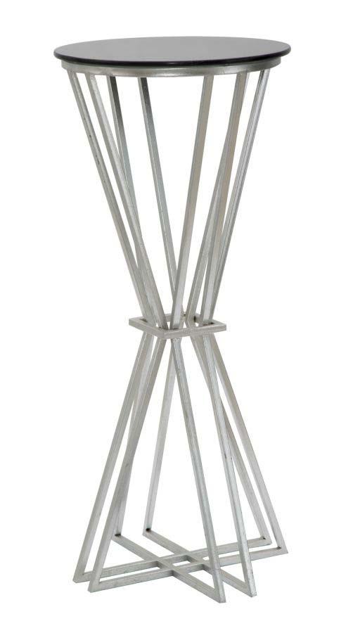 Stativ pentru plante Oslo, 80x35x35 cm, metal/ sticla, argintiu/ negru