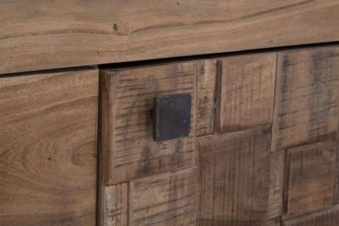 Vitrină Mumbai, 177x103x40 cm, lemn de acacia/ metal, maro/ negru