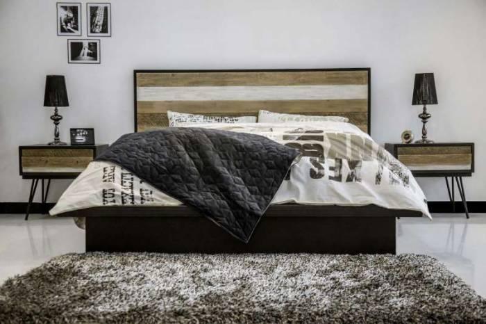 Pat dublu Beth, 180x200 cm, lemn de acacia/ mdf/ metal, gri/ negru