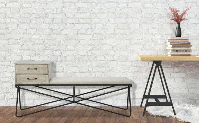 Banchetă cu sertare Ortensia, 65x142.9x39.4 cm, metal/ lemn de mesteacan, negru/ gri