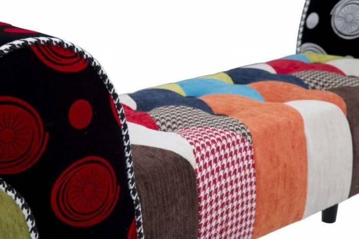 Banchetă tapițată Imperial, 54x102x31 cm, lemn de pin/ lemn arbore de cauciuc/ poliester/ spuma, multicolor