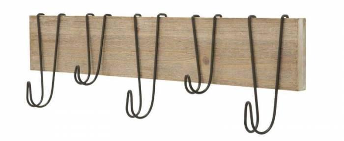 Cuier Wood, 20x72x7 cm, metal/ mdf, maro