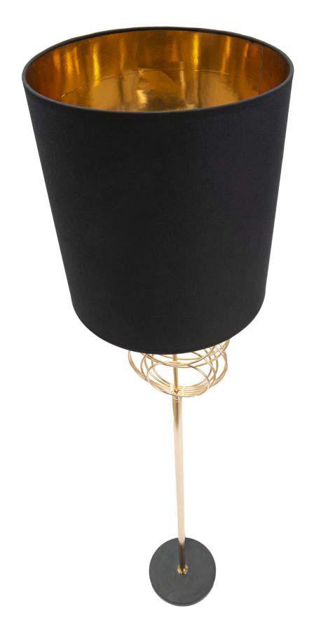 Lampadar Circly, 171x35x35 cm, metal/ pvc/ textil, auriu/ negru