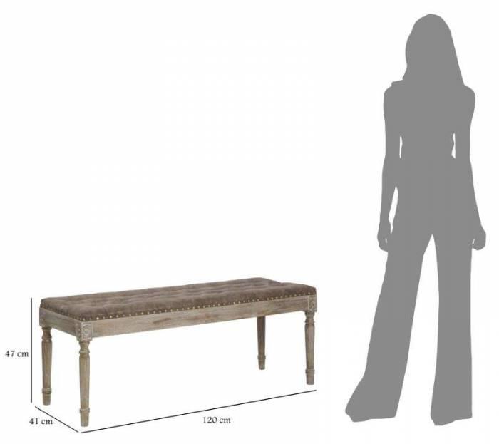 Banchetă capitonată Brady, 47x120x41 cm, lemn de fag/ spuma/ pu, maro