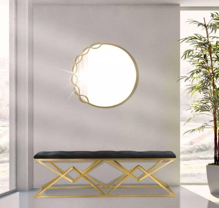 Banchetă capitonată Jessica, 45x140x40 cm, metal/ poliester, negru/ auriu