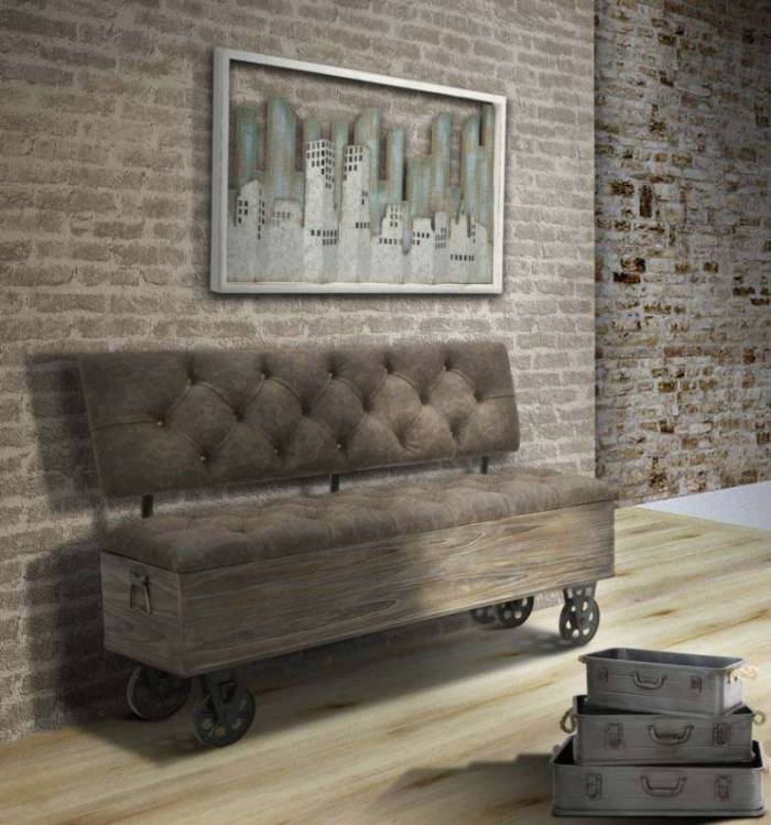 Banchetă industrială Brenn, 75x121x52 cm, lemn de brad/ metal/ spuma/mdf/ pu, maro