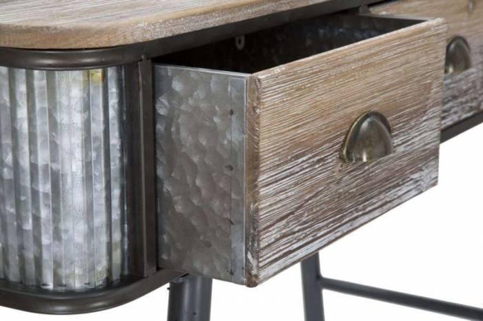 Consolă 3 sertare Josef, 80.5x118x45.5 cm, metal/ lemn de brad, negru/ gri