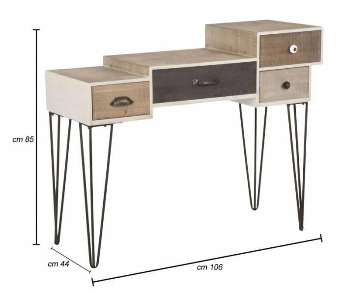 Consolă Blythe, 85x106x44 cm, lemn de brad/ mdf/ metal, maro/ negru