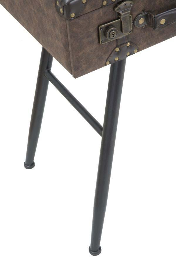 Consolă Brendon, 90x80x40 cm, mdf/ metal/ pu, maro