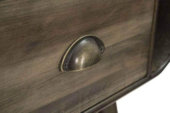 Consolă Brice, 80x120x40 cm, lemn de brad/ metal, maro/ bronz
