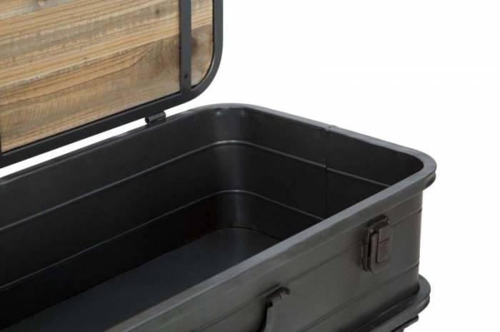 Consolă industrială Truck, 43.5x60x29 cm, lemn de brad/metal, maro/ negru/ gri