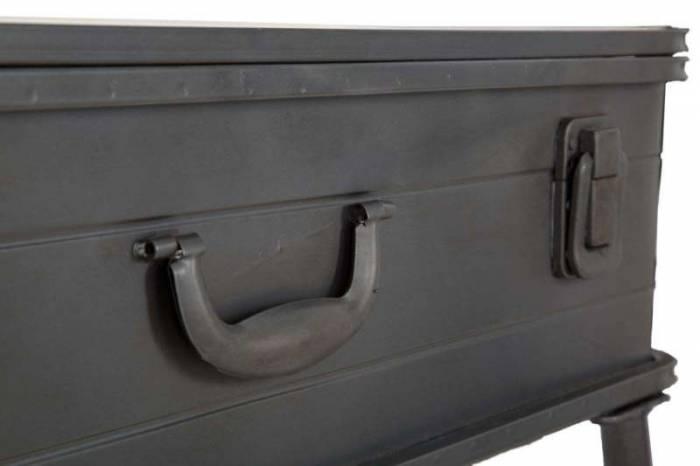 Consolă industrială Truck, 67.5x80x35 cm, lemn de brad/metal, maro/ negru/ gri