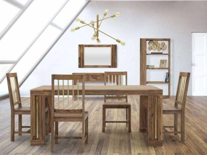 Consolă Madge, 76x132x40 cm, lemn de sheesham/ metal, auriu/ maro