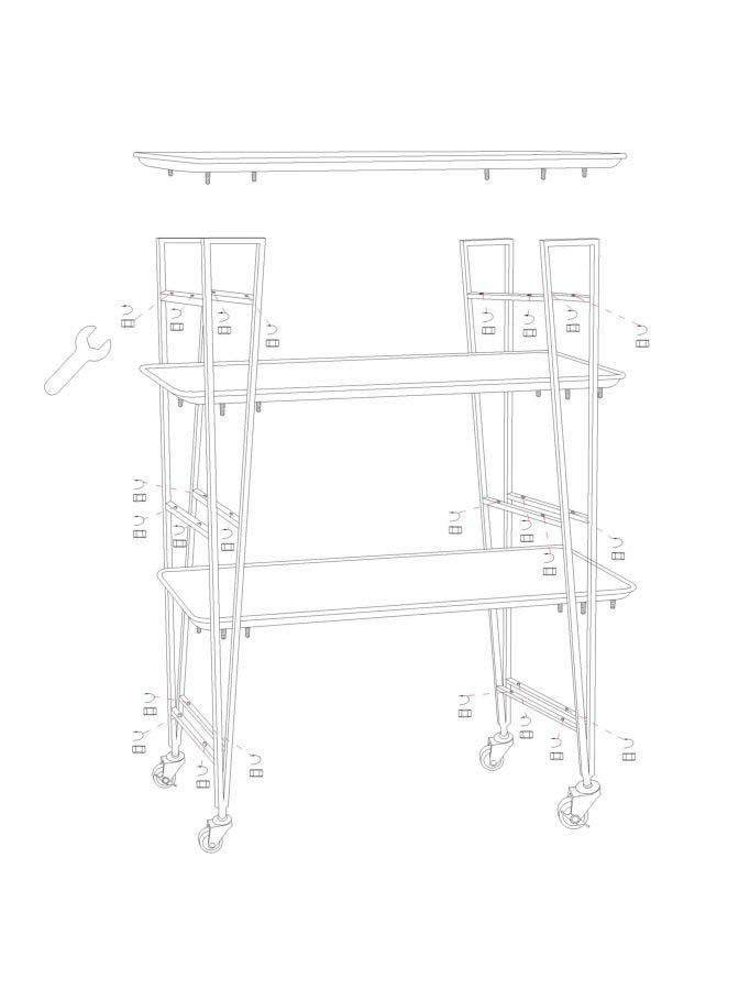 Masă mobilă Montana, 100.5x80x46 cm, metal, maro