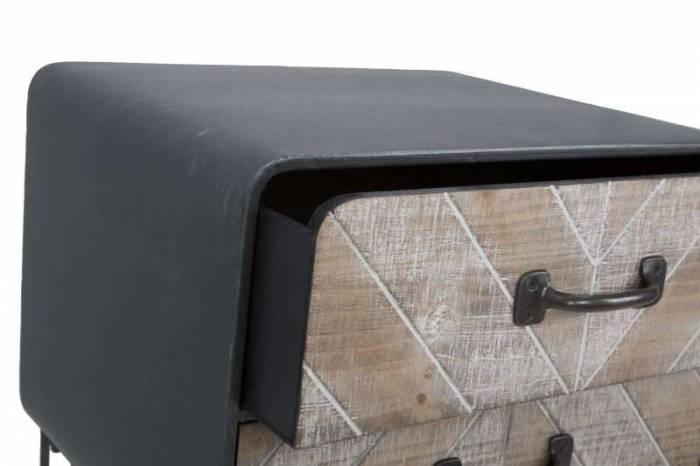 Noptieră 2 sertare Blake, 70x41x34.5 cm, mdf/ metal, maro/ negru