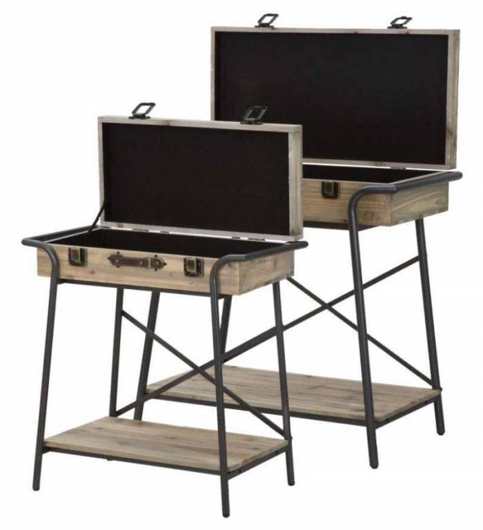 Set 2 console industriale Truck, lemn de brad/metal, maro/ negru