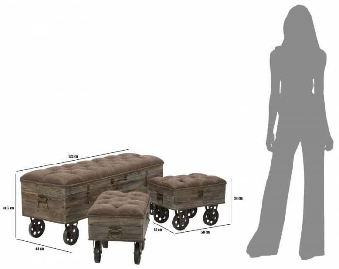 Set banchetă cu 2 taburete Bret, lemn de brad/ metal/ spuma/mdf/ pu, maro
