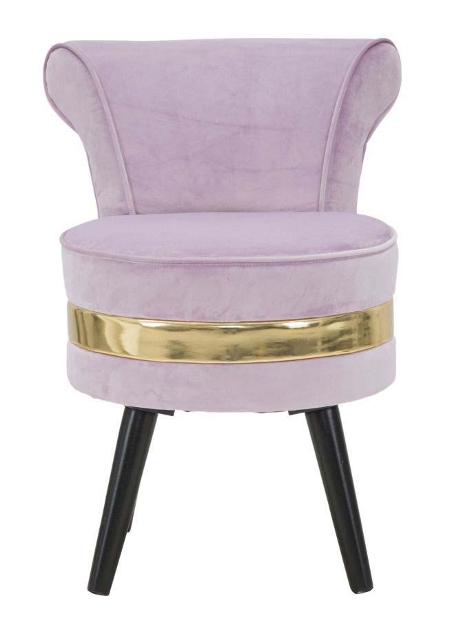 Taburet cu spătar Josefa, 64x47x47 cm, lemn de pin/ poliester, roz/ auriu