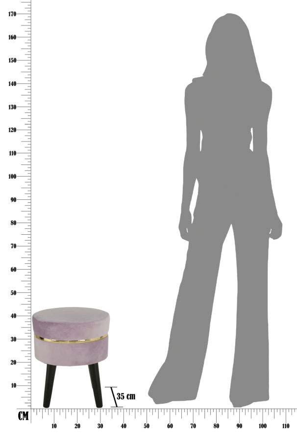 Taburet fără spătar Josefa, 40.5x35x35 cm, lemn/ catifea, roz/ auriu/ negru