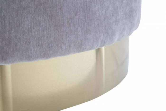 Taburet Jesenia, 35x55x55 cm, catifea/ lemn/ metal/ spuma, gri/ auriu