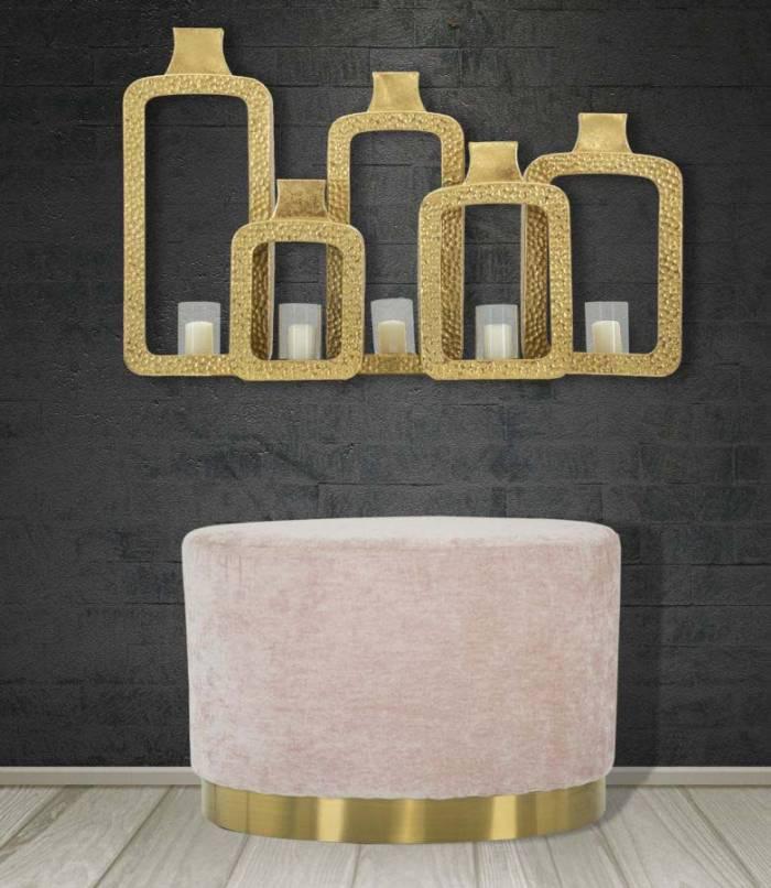 Taburet oval Jesenia, 40x60x40 cm, catifea/ lemn/ metal/ spuma, roz/ auriu