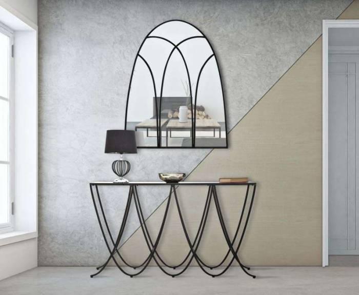 Oglindă de perete Black, 110x90x2,5 cm, metal/ sticla, negru