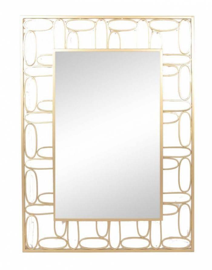 Oglindă de perete Bubbles, 102,5x71,5x2 cm, metal/ sticla, auriu