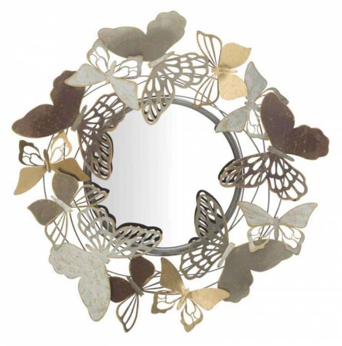 Oglindă de perete Butterfly, 78x77,5x6 cm, metal/ sticla, multicolor
