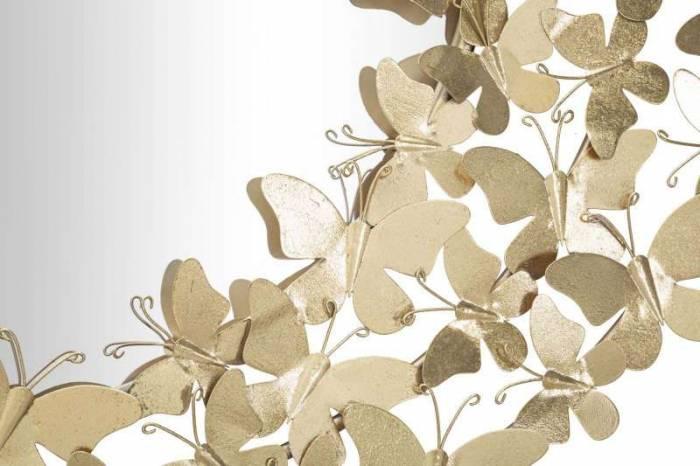 Oglindă de perete Butterfly, 81,5x81,5x3,5 cm, metal/ sticla, auriu
