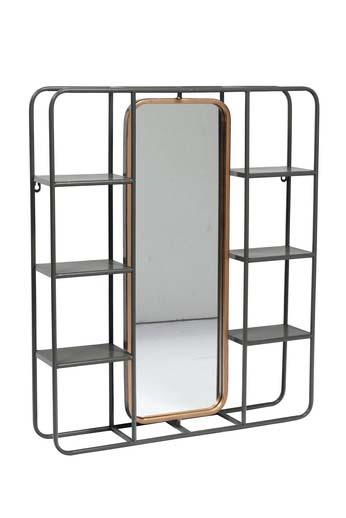 Oglindă de perete cu polițe, 74,5x62,5x12 cm, metal/ sticla, negru