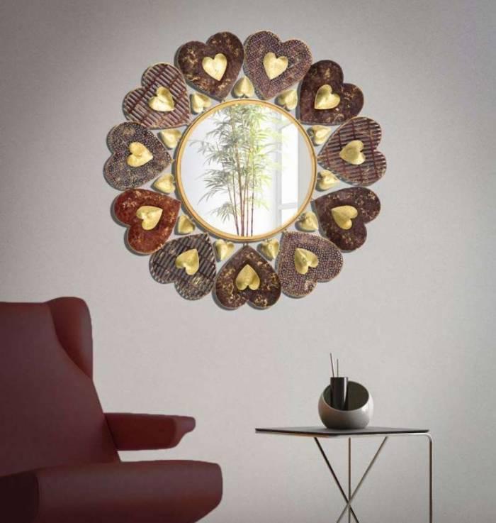 Oglindă de perete Cuori, 61x61x3 cm, metal/ sticla, multicolor
