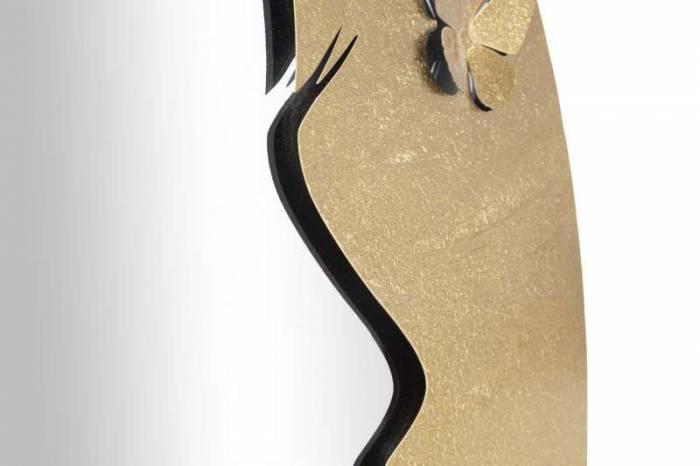 Oglindă de perete Lady Luxy, 80x80x2,5 cm, metal/ sticla, auriu